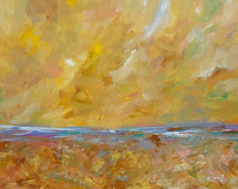 Abstract Landscape Golden Tan 16 x 20 Original Artwork Contemporary Art Seascape Painting Minimalist