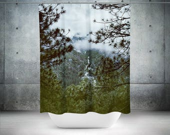 Fog Forest Shower Curtain, Nature Shower Curtain, Trees Shower Curtain, Forest Bath Curtain, California Bathroom Decor Yosemite Forest Decor