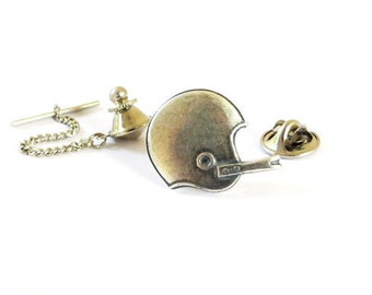 Football Helmet Tie Tack in Sterling Silver Ox Finish- Football Gifts- Gifts For Men