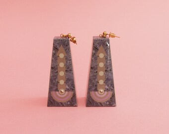 """Geometric Earrings // Pastel Earrings // Marbleized Earrings // Graphic Earrings // Op Art Earrings // Art Deco Earrings // The """"Going Up"""""""