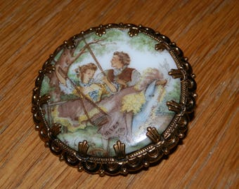 Victorian Couple Hand Painted Porcelain Brooch made in West Germany