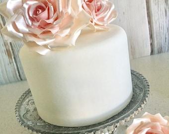 READY TO SHIP 3 Pink Satin Sugar Gumpaste Roses Set of 3 Wedding Cake Topper