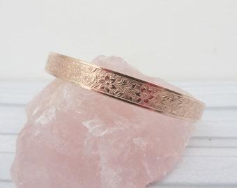 Copper cuff bracelet, Copper flower cuff, Copper bangle, Patterned copper cuff, Flower vine cuff, Pure copper bracelet, Made in the UK