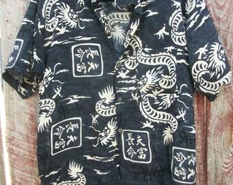 Black Chinese Dragon Shirt ~ M/L ~ Mens Casual Island Style Unisex Shirt ~ Rayon So Soft, Ultra Comfort ~ MAN GIFT