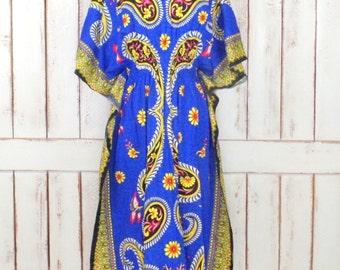 Vintage blue Indian print Dashiki festival caftan/kaftan dress/floral paisley tribal print caftan