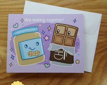 Peanut Butter and Chocolate Valentines Day Note Card - Kawaii Foods Cartoon Greeting Card