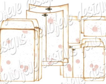 6x9 Printable Envelope Album Splats & Plain Templates