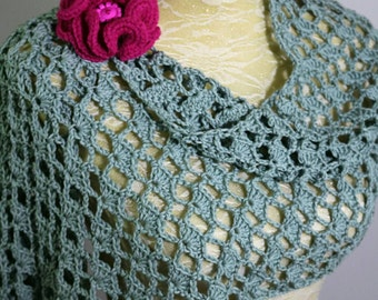 Scarf, shawl. Crochet summer shawl, wrap, scarf . Light weight wedding shoulder shawl.