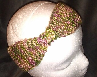 Hand Knit Green and Pink Variegated Bow Headband