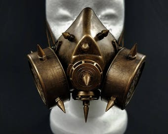 Gold Steampunk Styled Gas Mask | Venetian Cosplay Mardi Gras Masquerade Mask