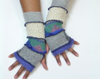 Fingerless Gloves, Armwarmers, (Cornflower/Patched Gray/Blue,Green Triangle Pattern/Off White/Light Gray)Brenda Abdullah