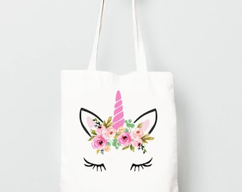 Unicorn Tote Bag with Flower Crown