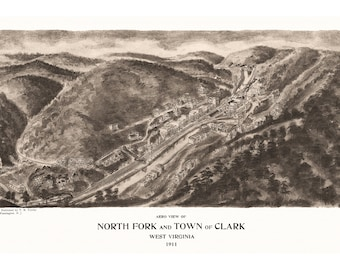 North Fork and town of Clark, West Virginia Antique Birdseye Map;1911