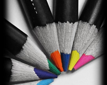 Color Pencil Photos, Black and White Selective Color Photos, Still Life Photography, Still Life Prints, Color Pencil Prints, Rainbow
