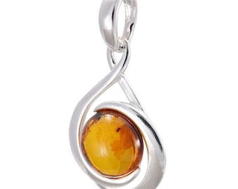 """Sterling Silver and Baltic Honey Amber Pendant """"Raine"""""""
