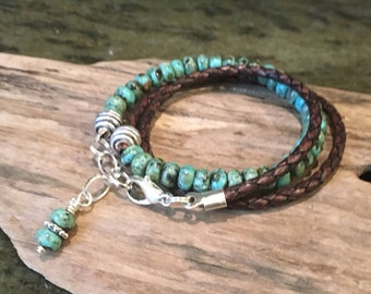 Leather Turquoise Wrap, Leather Bracelet, Turquoise gemstones, Triple Wrap, Custom, Braided Leather, Natural Gemstones