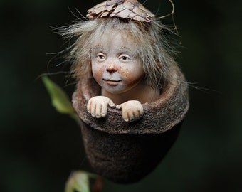 Pixie boy Quirin, Wichtelkind fantasy miniature sculpture art doll