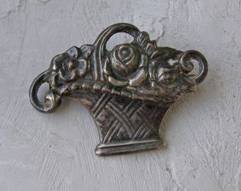 Sterling Silver Brooch Vintage Flower Basket Bouquet Cornucopia Floral Pin