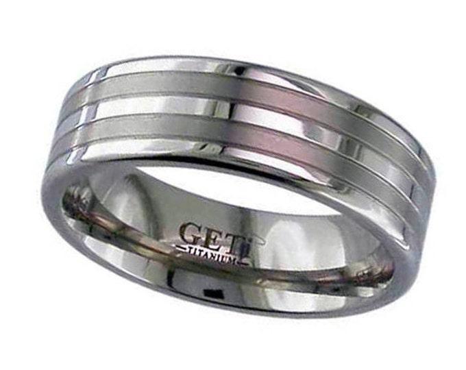 7mm Wide Titanium Wedding Ring With 2 Satin Striped & Polished Edges SIZE U