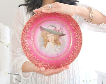 ARTIST SIGNED Porcelain Plate, Wall Decor, Victorian Wall Decor