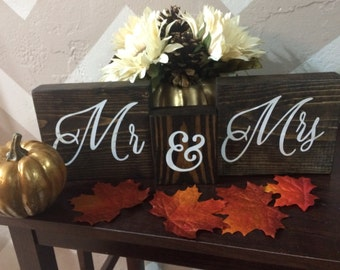 Mr & Mrs Decorative Wood Blocks
