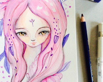 "Pink flower girl Watercolor painting, girl portrait, semi-realistic, ooak, whimsical art, 8x5"", girl and lowers, mystic art, pink, purple"