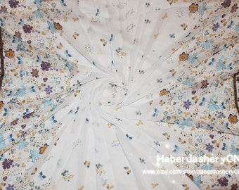 Chiffon fabric 1m  CH194-k in wonderful colorful summer flowers with butterflies