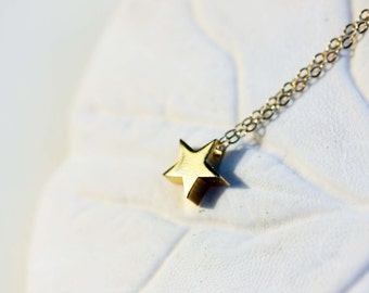 Star Charm Necklace, Gold Star Necklace, Star Necklace, Star Charm, Small Charm Necklace, Gold Filled Star Necklace, Gold Filled Necklace