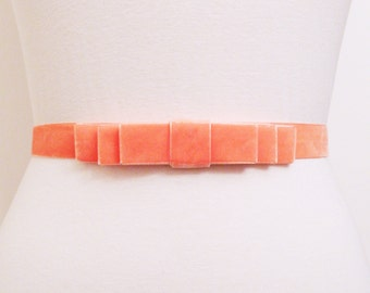Light Coral Velvet Bow Belt