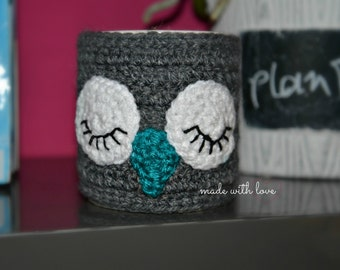Owl Knit Mug Cozy - Knitted Tea Cup Mug Sweater - Hand Knit Coffee Mug Warmer- Cup sleeve