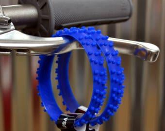 SET OF FIVE blue knobby dirt bike tire wrist band