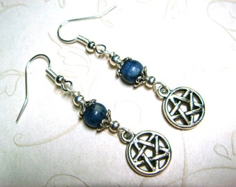 Wiccan Earrings Pagan Jewelry Pentacle Blue Jasper Metaphysical Spiritual Witchcraft Jewelry Handfasting Pentagram Earrings Gift for Her