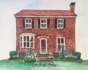 Custom Hand-painted Watercolor: Architectural Paintings