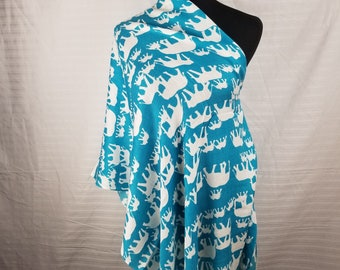White Elephant on Blue background Pashmina Scarf, Shawl, Wrap