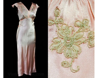 Size 4 Hollywood Style 1930s Pink Satin Nightgown - Small - 30s Bias Cut Lingerie - Embroidered Faux Lace - Waist 29 - Deadstock - 44897