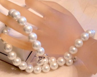 Vintage Pearl Necklace = Pearls - 12mm Big South Sea Pearls - Gorgeous - Hand Knotted Silk