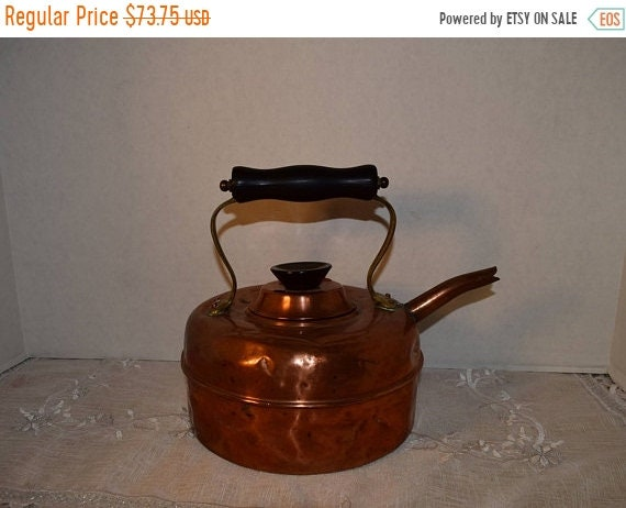 Delayed Shipping Copper Tea Kettle Vintage Made in England Copper Tea Pot Black Knob Handle Farmhouse Kitchen Copper Kitchen English Coffee