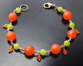 Orange Green Beaded Bracelet, Jade Dangle Bracelet, Tangerine Lime, Gold Bracelet