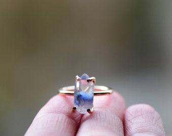 Dumortierite in Quartz Ring. Natural Blue Quartz Gold Fill Ring. Rare Quartz. Natural Dumortierite Raw Quartz Prong Ring Delicate Stackable