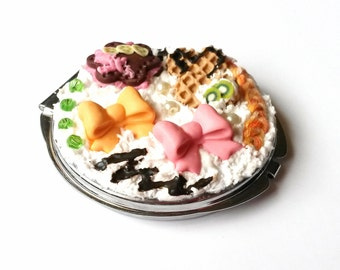 Compact Mirror Food Miniatures ( sweet polymer clay whipped cream cake waffle bow colorful gift for girl women cute pink orange green )