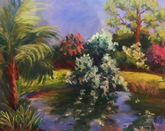 "Original Impressionist Landscape Pastel Painting, Looking North at Mounts, 9"" x 12"""