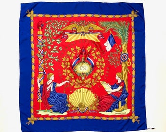 HERMÈS PARIS!!! Vintage 1980s 'Hermés' French Revolution themed commemorative silk scarf 1789 - 1989 / Made in France