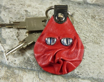 Hand Made Leather Key Ring Fob With Face Eye Key Purse Charm  Monster