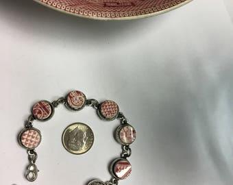 Broken china Pink Willow bracelet #121