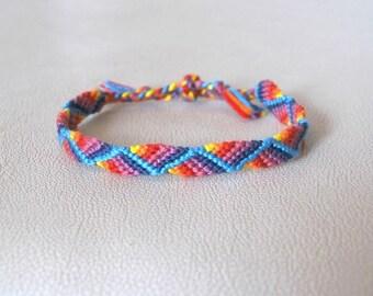 Bracelet Brazilian fancy zig - zag pattern colorful Rainbow hippie Brasilda Chevron Color woven bracelet