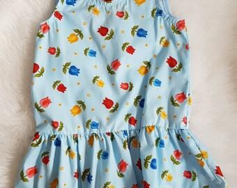 Blue cotton tulip print dress size 3