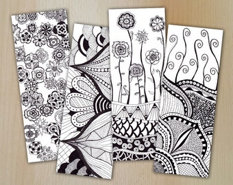 Zentangle Digital Bookmarks / Lesezeichen FLOWERS /  zum downloaden / Coloring and relaxing / JPG und PDF