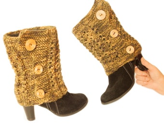 Cuffs for boots. Warm feet. Leggings with buttons. Decoration for shoes. Loading. Knitwear, Yellow, Green. Buttons. Winter. gift