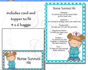 Nurse Survival Kit includes Topper and Card - Digital Printable - Immediate Download