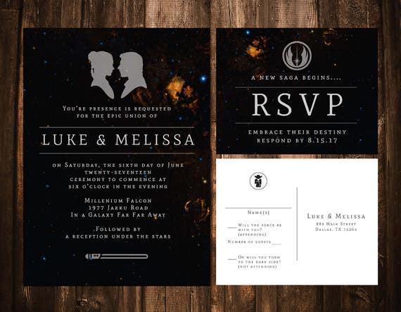 Perfect Star Wars Wedding Invitations Star Wars Wedding Invitations